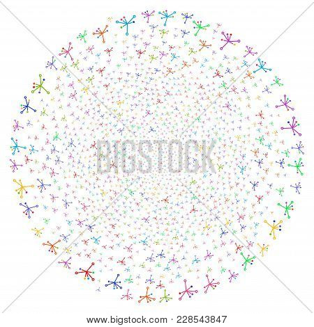 Bright Big Bang Curl Bang. Psychedelic Spiral Combined With Scatter Big Bang Objects. Vector Illustr
