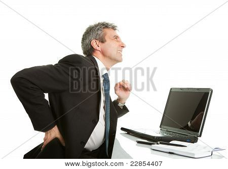 Senior business men having back pain