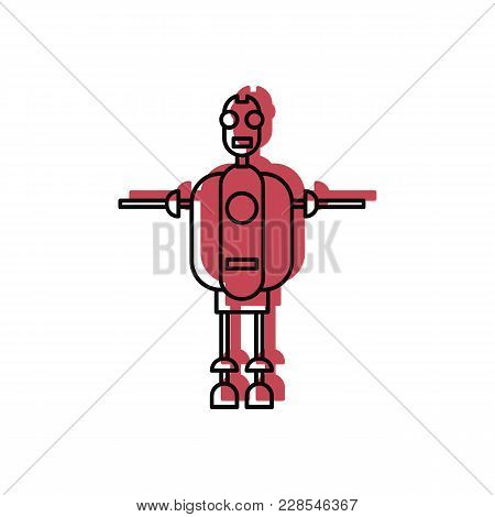 Robot Icon In Doodle Style. Vector Illustration With Automatic Helper Robot On White Background. Rob