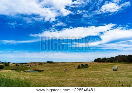 Picturesque Rural Landscape Of Field With Straw Bales And Small Pond On Sunny Day