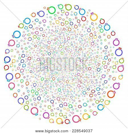 Bright Ruby Ring Swirl Circle. Suggestive Twist Combined With Scattered Ruby Ring Symbols. Vector Il
