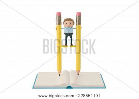 Businessman Balancing On High Pencil Stilts Attached To His Legs. 3D Illustration.