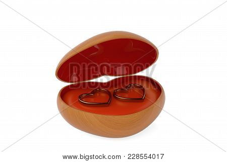 Heart-shaped Wooden Jewelry Box And Gold Ring. 3D Illustration.