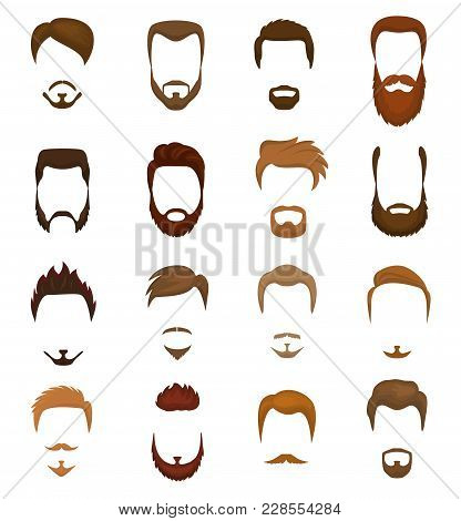 Beards Vector Portraite Of Bearded Man With Male Haircut In Barbershop And Barbed Mustache On Hipste