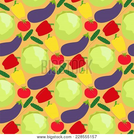 Vegetables Food Cellulose Vector Seamless Pattern Peppers Tomatoes Healthy Food Background. Organic