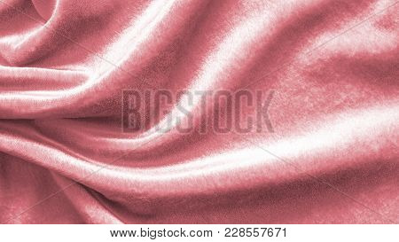 Rose Gold Pink Velvet Background Or Velour Flannel Texture Made Of Cotton Or Wool With Soft Fluffy V