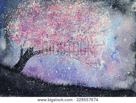 Watercolor Landscape Milky Way And Pink Tree Sakura.