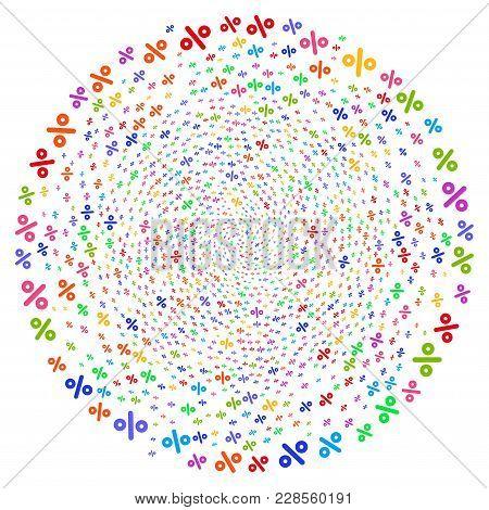 Bright Percent Curl Cluster. Impressive Twist Combined By Scatter Percent Objects. Vector Illustrati