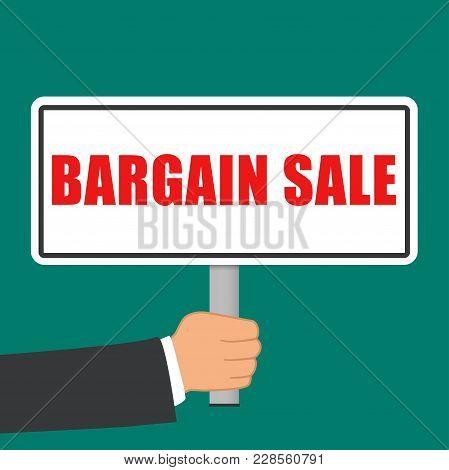 Illustration Of Bargain Sale Word Sign Flat Concept