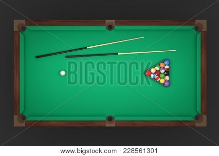 3d Rendering Of A Billiards Table With Two Cue Sticks And A Rack With Balls In Top View. Leisure And