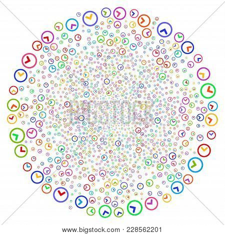 Multicolored Clock Curl Explosion. Psychedelic Curl Created From Scattered Clock Symbols. Vector Ill