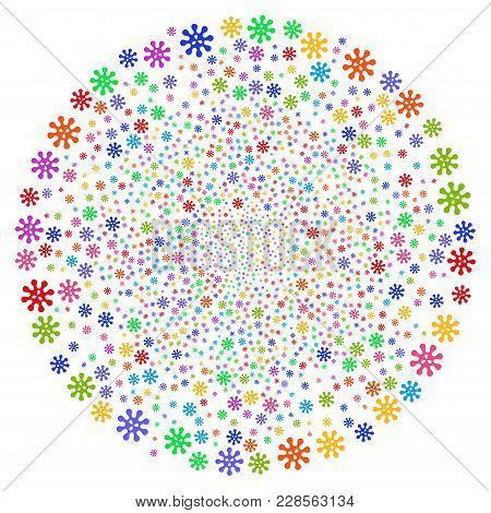 Multi Colored Virus Spiral Twist. Hypnotic Twist Designed With Random Virus Items. Vector Illustrati