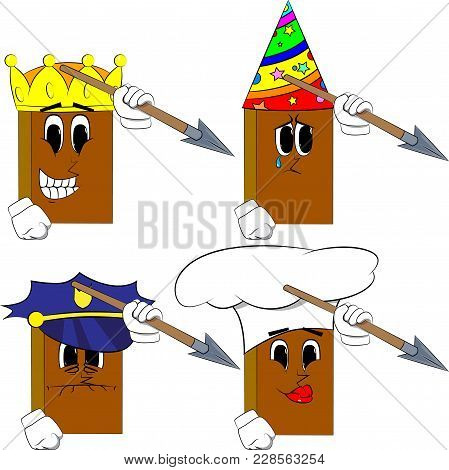 Books Holding Spear In His Hand. Cartoon Book Collection With Costume Faces. Expressions Vector Set.