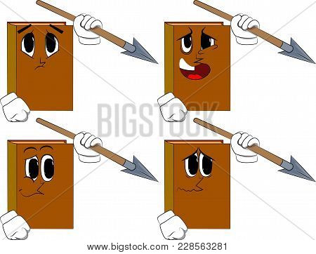 Books Holding Spear In His Hand. Cartoon Book Collection With Sad Faces. Expressions Vector Set.