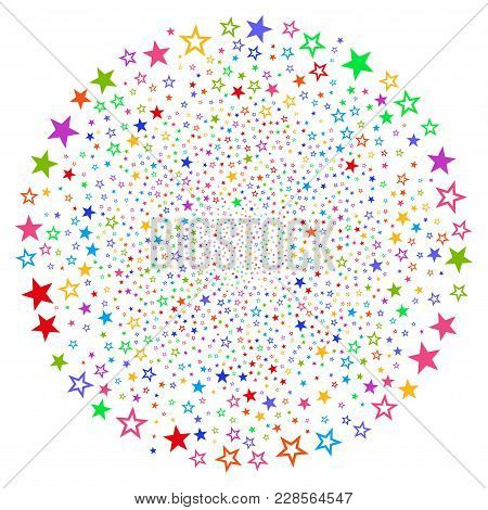 Psychedelic Decoration Stars Cycle Explosion. Impressive Cycle Done With Randomized Decoration Stars
