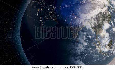 Planet Earth With Sun Rising From Space. The Earth From Space Showing All They Beauty. Extremely Det