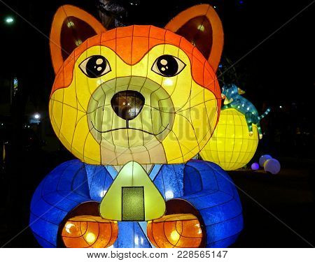 Kaohsiung, Taiwan -- February 19, 2018: Colorful Lanterns Are On Display  On The Banks Of The Love R