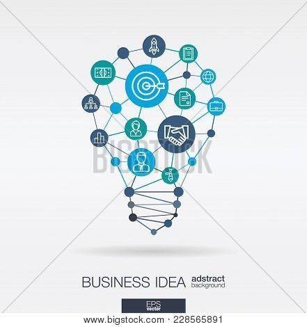 Business Integrated Thin Line Web Icons. Idea, Solution In Light Bulb Shape. Digital Network Concept