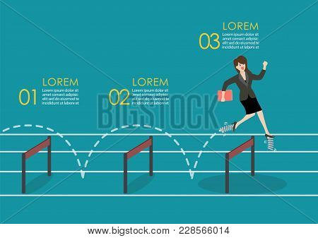 Business Woman With Elastic Spring Shoes Jumping Over Hurdle Infographic. Business Concept