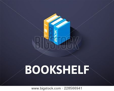 Bookshelf Icon, Vector Symbol In Flat Isometric Style Isolated On Color Background
