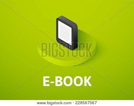 E-book Icon, Vector Symbol In Flat Isometric Style Isolated On Color Background