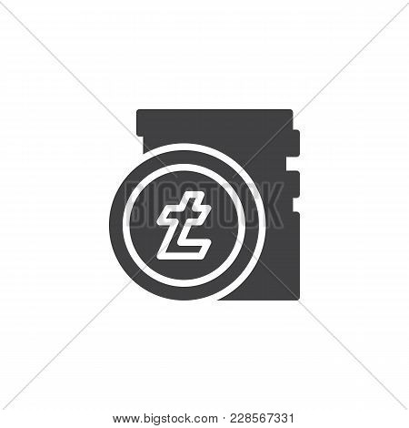 Litecoin Stack Vector Icon. Filled Flat Sign For Mobile Concept And Web Design. Stacked Cryptocurren