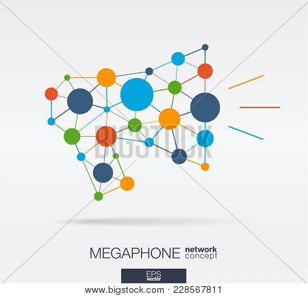 Abstract Social Media Market Background. Megaphone Message Graphic Design Idea. Digital Network Poly