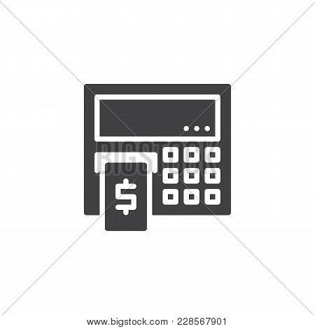 Atm Cash Machine Vector Icon. Filled Flat Sign For Mobile Concept And Web Design. Cash Dispenser Sim