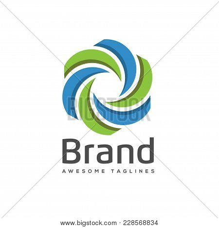 Abstract Swirl Color Logo. Color Swirl Logo Corporate Identity Design Element. Color Circle Segments