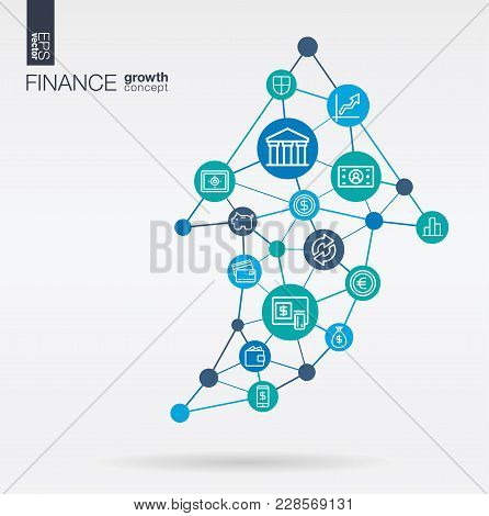 Finance Integrated Thin Line Web Icon. Graph Chart Growth, Progress And Success In Arrow Up Shape. D