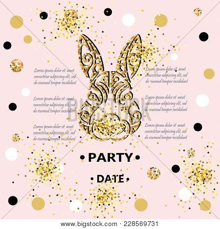 Bunny Head Isolated On Background With Golden Confetti. Rabbit Head As Baby Shower & Easter Logo, Pe