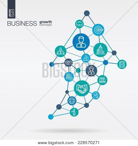 Business Integrated Thin Line Web Icons. Graph Chart Growth, Progress And Success In Arrow Up Shape.