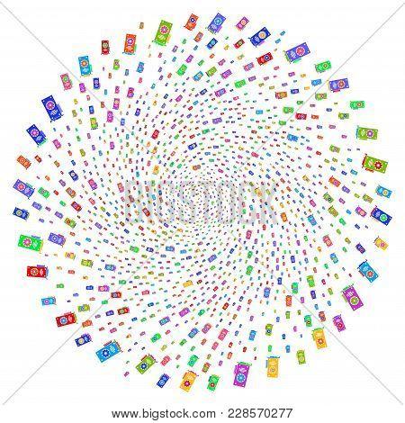 Multicolored Video Gpu Card Twirl Rotation. Impressive Cluster Created From Random Video Gpu Card Ob
