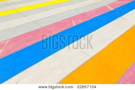 Multicolored painted sidewalk in Brooklyn New York. poster