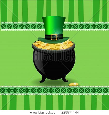 Saint Patrick's Day Card With Leprechaun's Gold And Top Hat
