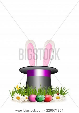 Happy Easter Clip Art For Greeting Card  With Cartoon Pink Bunny Or Rabbit Ears Sticking Out Of Top