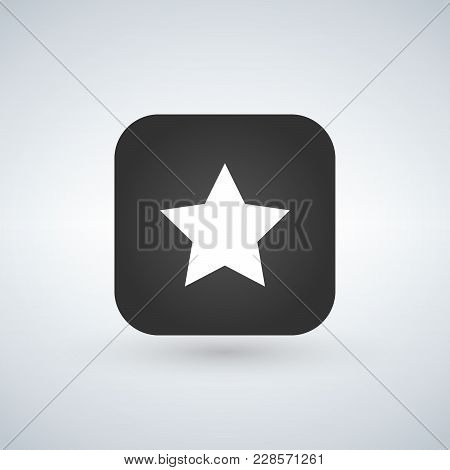 Star Favorite Sign Web Icon On Rounded Square App Button With Black Shadow On White Background. Vect