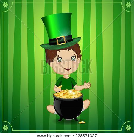 Saint Patricks Day Vector Cartoon Illustration With Cute Smiling Boy In Leprechaun Cosume And Hat Cy