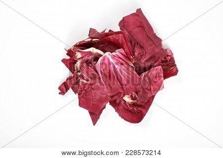 Radicchio, Red Salad Isolated On White Background.