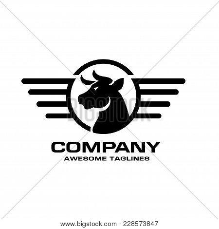 Bull Head Circle Vector Logo Concept Illustration, Buffalo Head Circle And Wings Lines Logo, Bull He