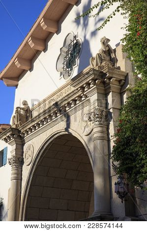 Detail Shot Of The Santa Barbara County Courthouse Featuring Many Architectural Elements