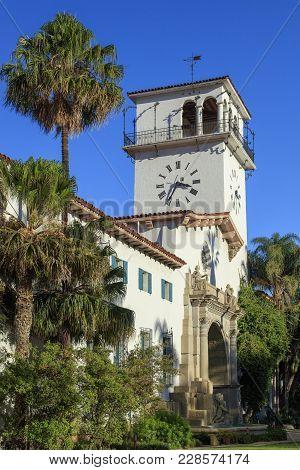 Full View Of The Santa Barbara County Courthouse Clock Tower In Santa Barbara, California.