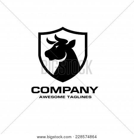 Bull Head Black Shield Vector Logo Concept Illustration, Buffalo Head Logo, Bull Head Black Shield L