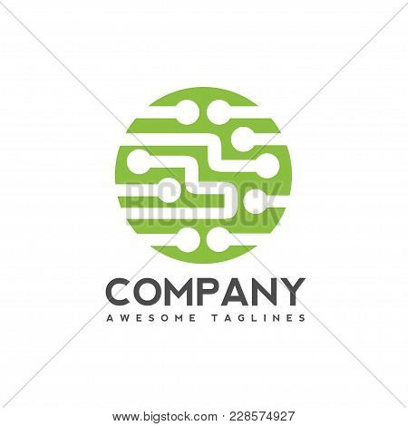 Digital Electronics Logo Design, Creative Electronic Circuits Logo Vector, It Technology Logo Concep