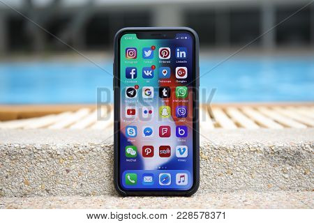 Koh Samui, Thailand - January 22, 2018: Iphone X With Social Network On The Screen. Iphone 10 Was Cr