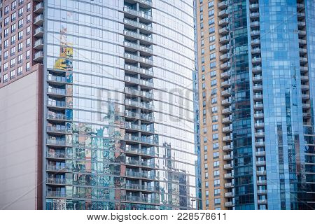 Chicago Downtown Residential Building Exteriors With Reflection