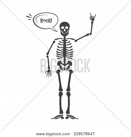 Skeleton Human Anatomy. Halloween Black Skeleton Isolated On White. Skeleton Hand Sign