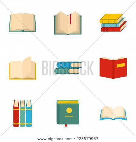 School Textbook Icons Set. Cartoon Set Of 9 School Textbook Vector Icons For Web Isolated On White B