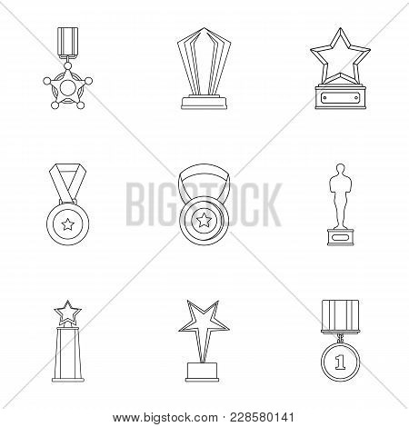 Accomplishment Icons Set. Outline Set Of 9 Accomplishment Vector Icons For Web Isolated On White Bac