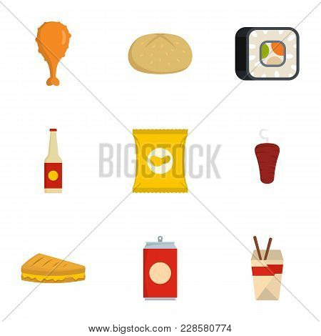 Consume Icons Set. Flat Set Of 9 Consume Vector Icons For Web Isolated On White Background